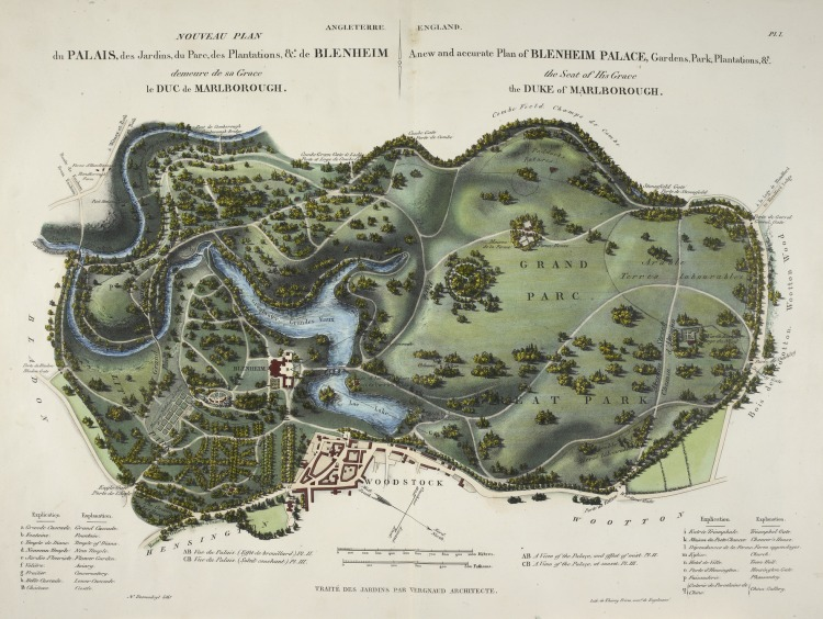 A_new_and_accurate_plan_of_Blenheim_Palace_-_L'Art_de_Créer_les_Jardins_(1835),_pl._1_-_BL